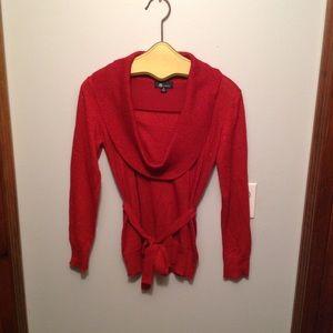 AB Studio❤️Women's Sz M Red Sparkly Sweater
